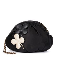 Chanel Black Satin Four Leaf Clover Timeless Wristlet Clutch