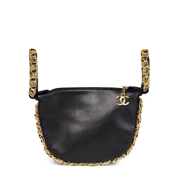 Chanel Black Lambskin Chain Around Timeless Wristlet