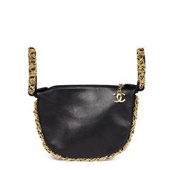 Chanel Black Lambskin Chain Around Timeless Wristlet
