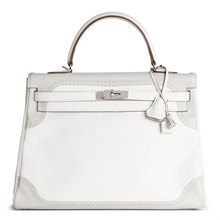 Hermès White & Gris Perle Swift Leather Ghillie Kelly 35cm Retourne