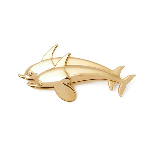 Georg Jensen 18k Yellow Gold Vintage Dolphin Brooch