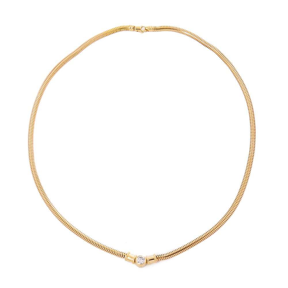 Theo Fennell 18k Yellow Gold Solitaire Diamond Necklace