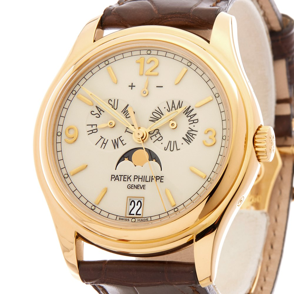 opaline watches brown leather white watch s patek men dial calendar annual philippe