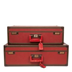 Louis Vuitton Red Textured Calfskin Leather Vintage Suitcase Pair