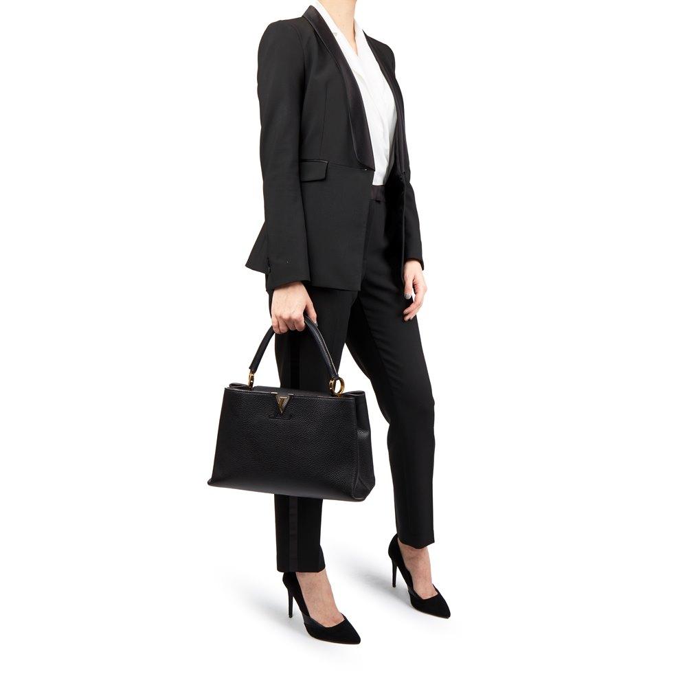 23184ecd2d57 Louis Vuitton Black Taurillon Leather Capucines MM