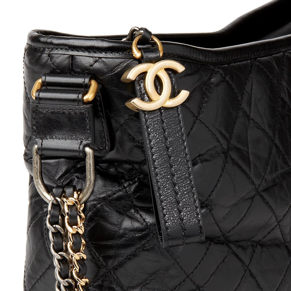 89223a16913a93 Chanel Black Quilted Aged Calfskin Leather Large Gabrielle Hobo Bag