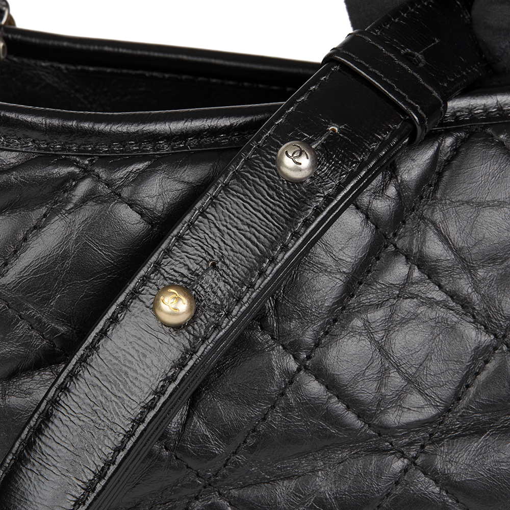 441585aad3b1 CHANEL BLACK QUILTED AGED CALFSKIN LEATHER GABRIELLE HOBO BAG HB1588 ...