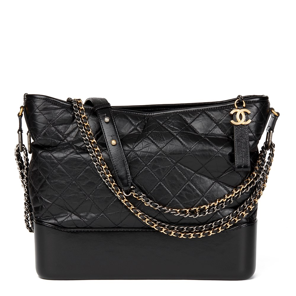 f2bd8d0949586a Chanel Black Quilted Aged Calfskin Leather Large Gabrielle Hobo Bag