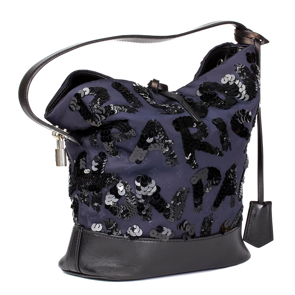 Louis Vuitton 2014 Louis Vuitton Navy Embellished Monogram Satin & Calfskin Spotlight Pm wXPou3C0h