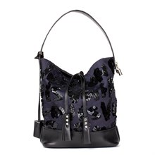 Louis Vuitton Navy Embellished Jacquard Monogram Satin & Black Calfskin Leather Spotlight PM