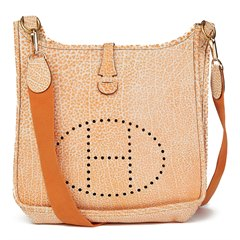 Hermès Orange Dalmatian Buffalo Leather Evelyne I PM