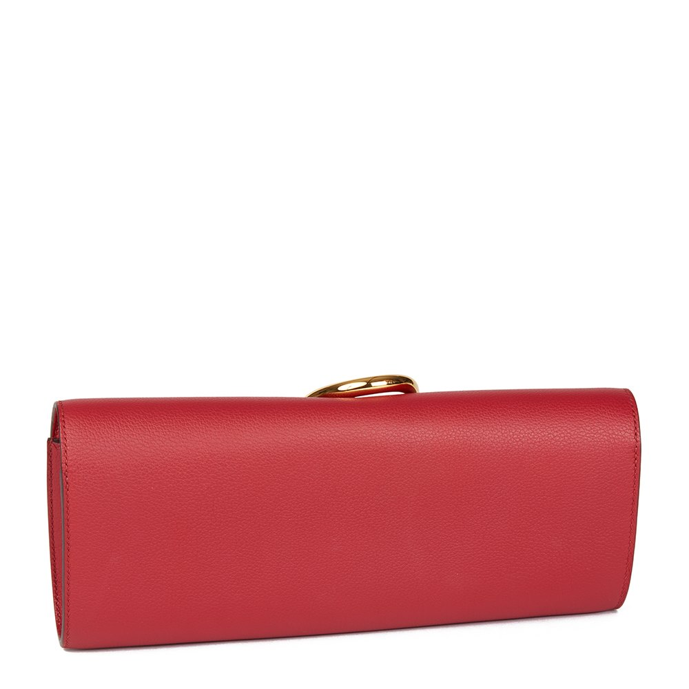 ca77b5dbc3d6 Hermès Rouge Grenat Evergrain Leather Egee Clutch
