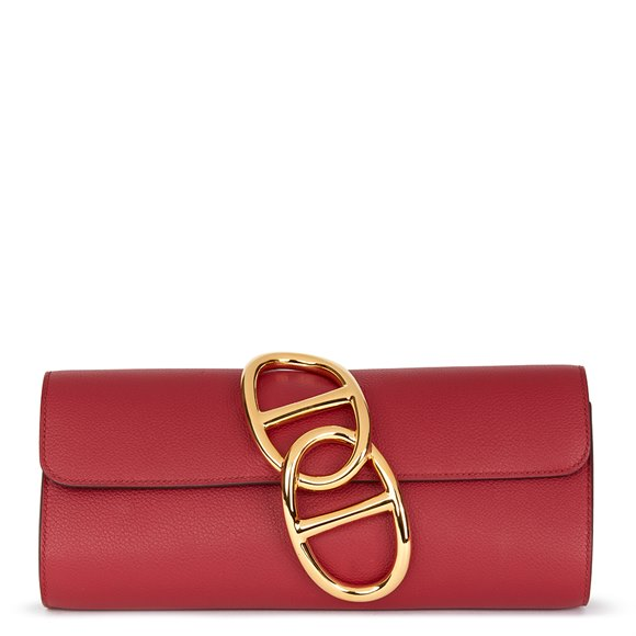 Hermès Rouge Grenat Evergrain Leather Egee Clutch