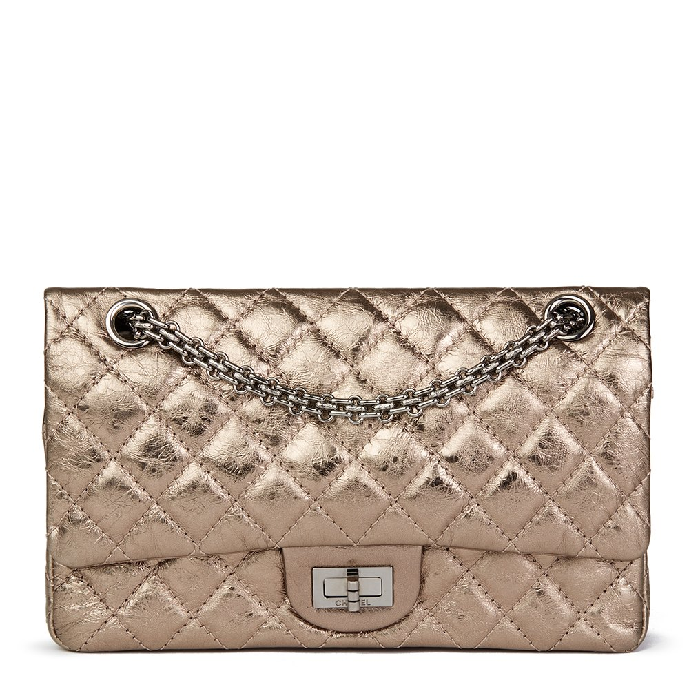 a6eda6f572fd Chanel Bronze Metallic Aged Calfskin Leather 2.55 Reissue 225 Double Flap  Bag