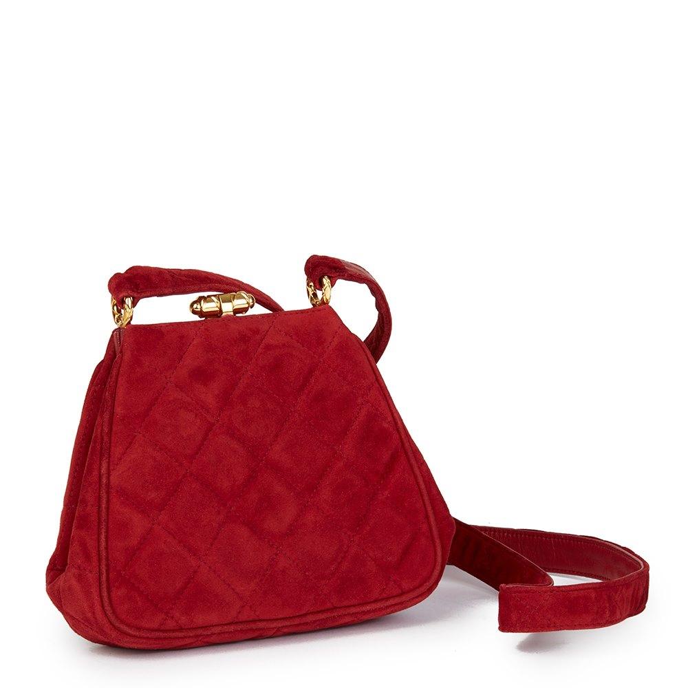 Chanel Red Quilted Velvet Vintage Mini Timeless Frame Bag 4eac5c215f3a6