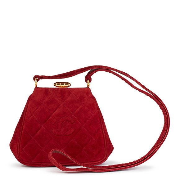 Chanel Red Quilted Velvet Vintage Mini Timeless Frame Bag