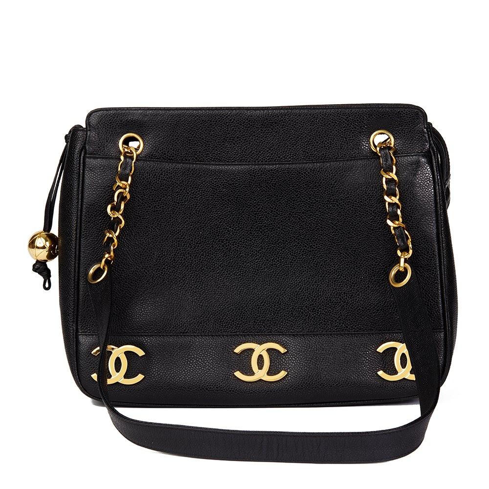 Chanel Black Caviar Leather Vintage Logo Trim Shoulder Bag f1059fc91d5d8