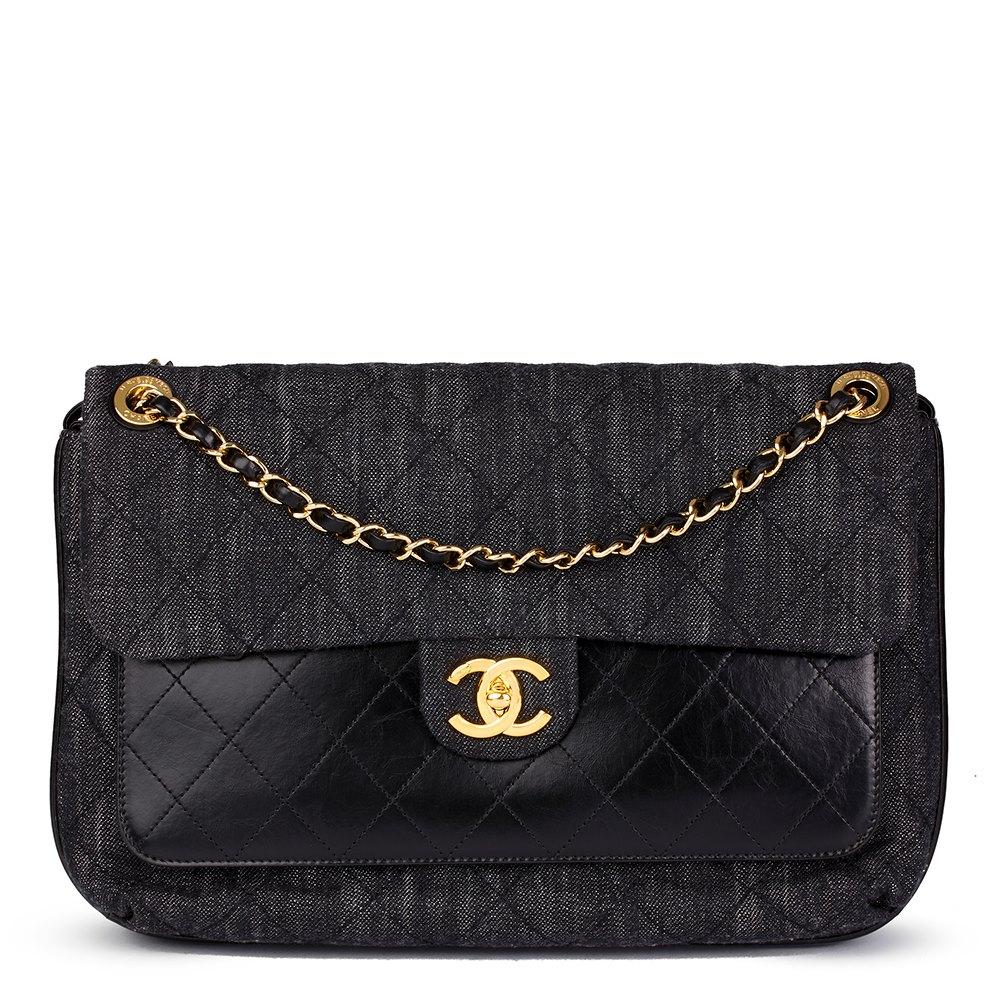 b2944fe2a7ee4a Chanel Indigo Blue Quilted Denim & Black Calfskin Leather Single Flap Bag