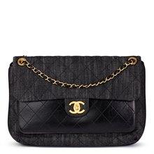 Chanel Indigo Blue Quilted Denim & Black Calfskin Leather Single Flap Bag