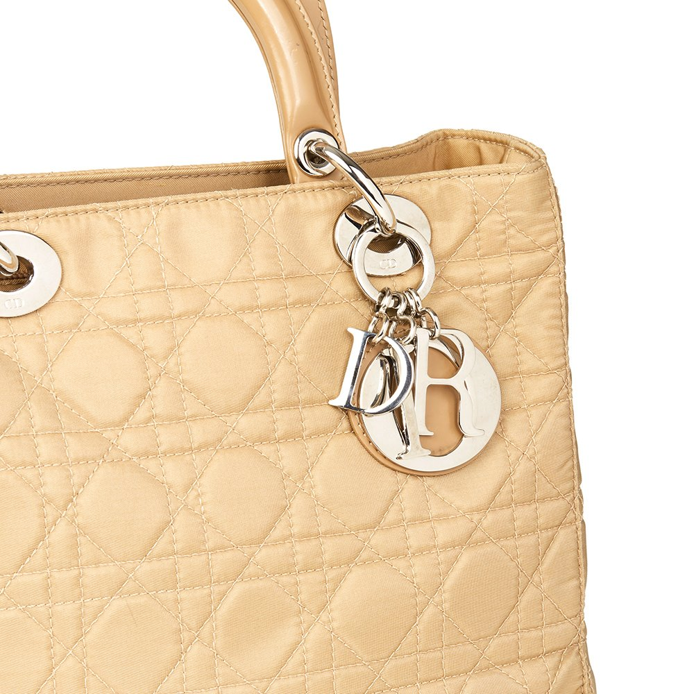 Dior 2001 Christian Dior Beige Quilted Satin & Patent Leather Lady Dior Mm TuGECaiM