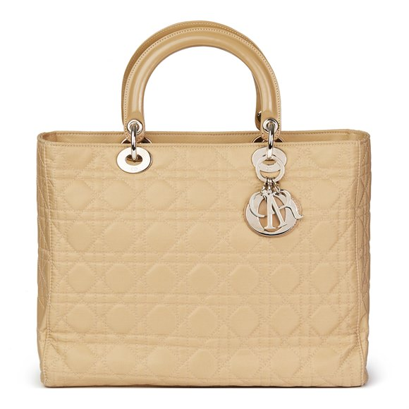Christian Dior Beige Quilted Satin & Patent Leather Lady Dior GM