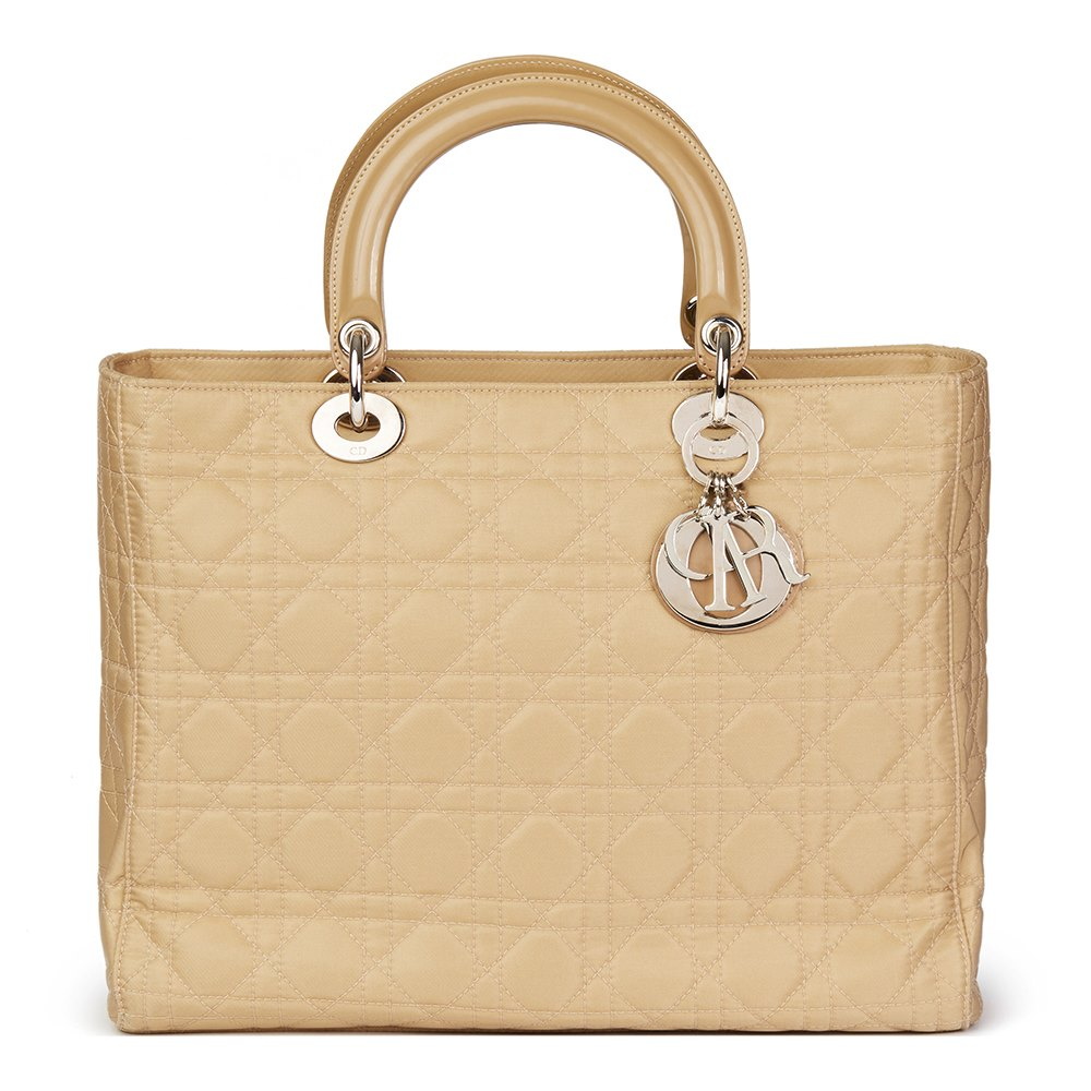 953aed7667 Christian Dior Beige Quilted Satin & Patent Leather Lady Dior GM