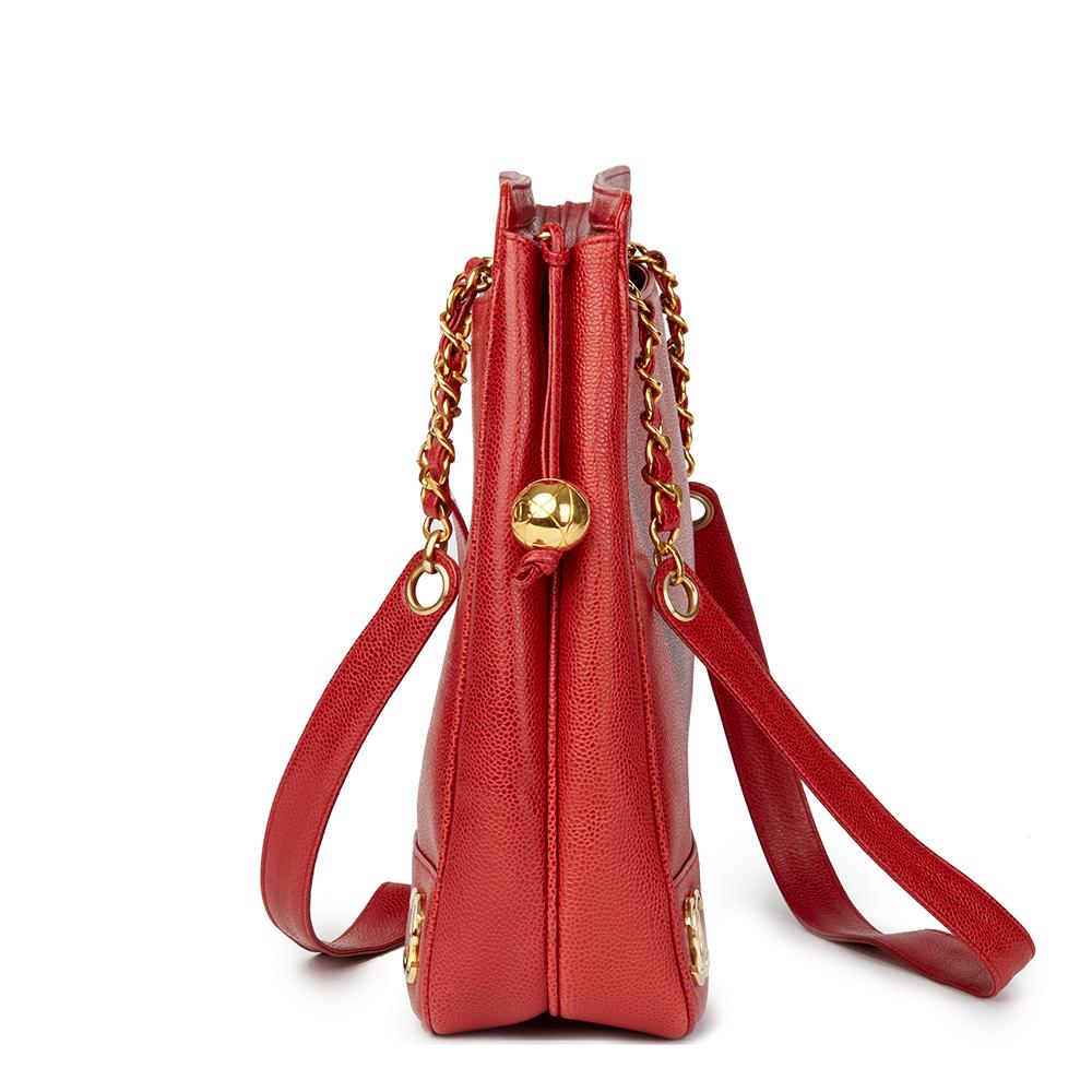 CHANEL RED CAVIAR LEATHER VINTAGE JUMBO LOGO TRIM SHOULDER BAG ... ce675d31aa4a5