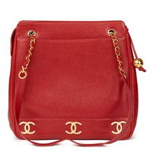 Chanel Red Caviar Leather Vintage Jumbo Logo Trim Shoulder Bag