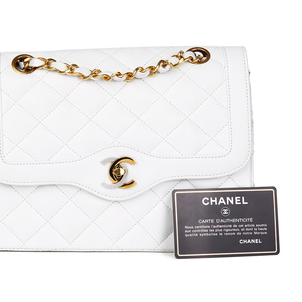 b06df19b718f18 Chanel White Quilted Lambskin Vintage Small Paris Limited Double Flap Bag