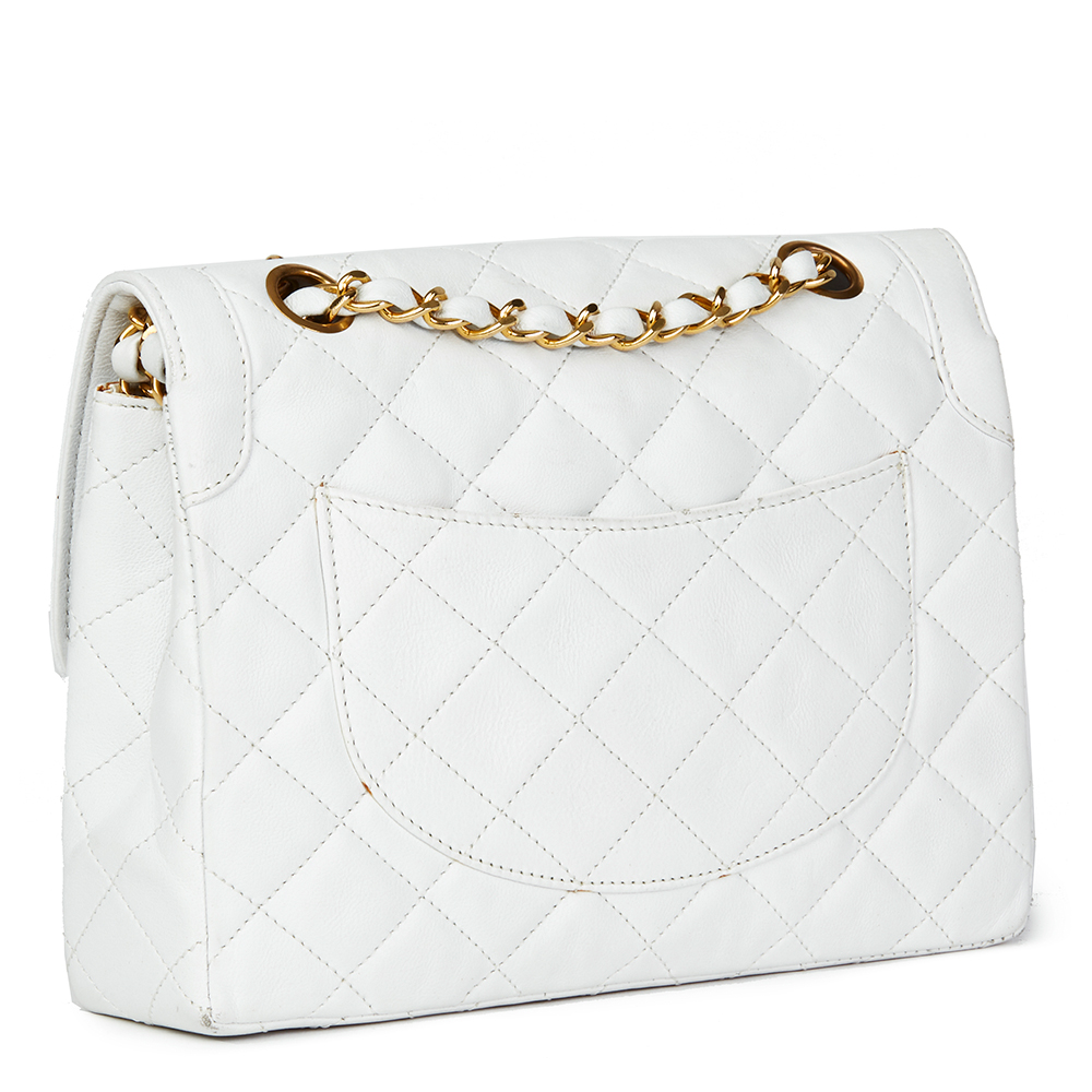 792a1bd3f4c6 Chanel White Quilted Lambskin Vintage Small Paris Limited Double Flap Bag