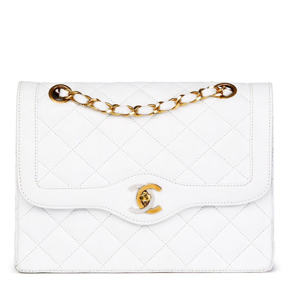 2d78d94eed93 Chanel White Quilted Lambskin Vintage Small Paris Limited Double Flap Bag