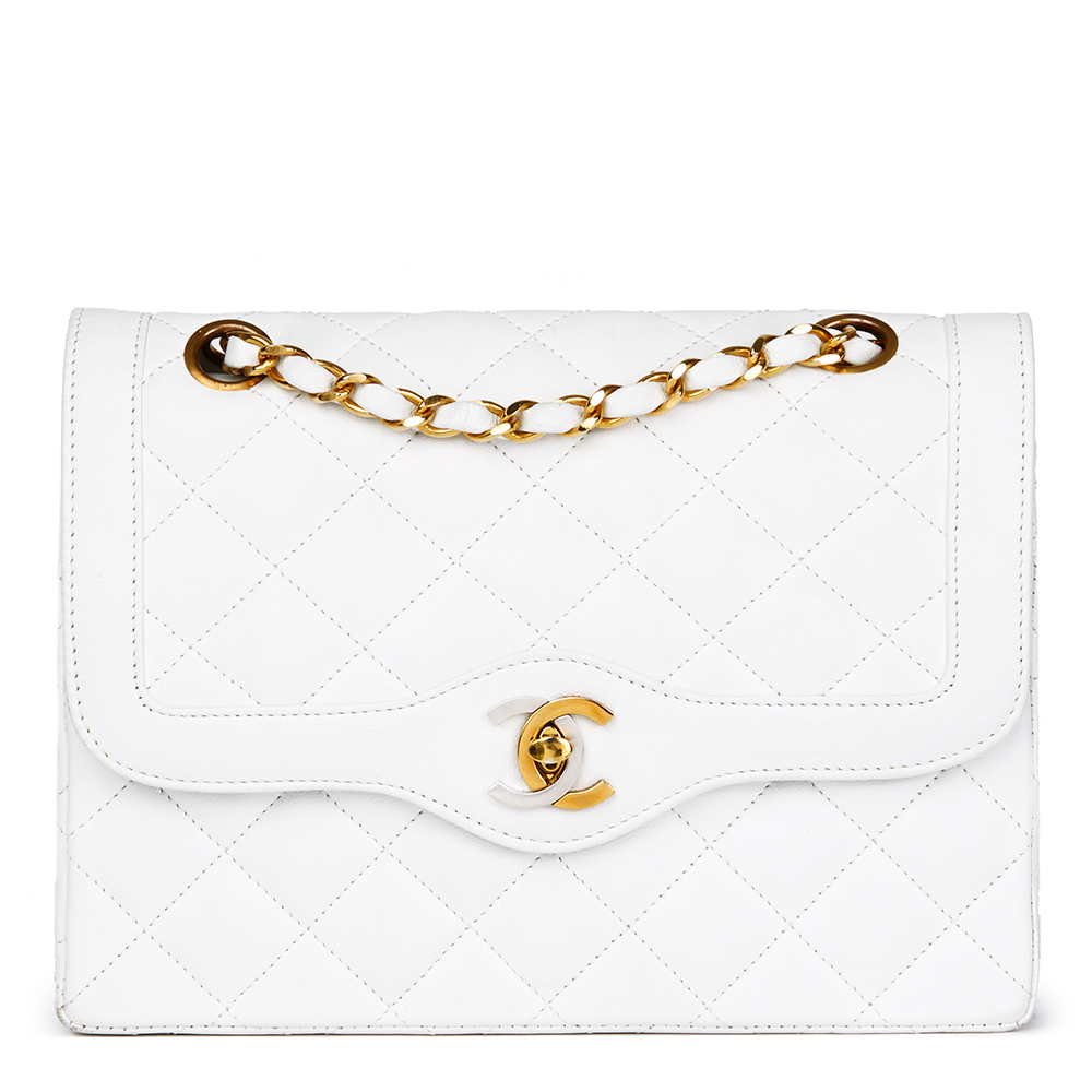 9bd6c920ea4c Chanel White Quilted Lambskin Vintage Small Paris Limited Double Flap Bag