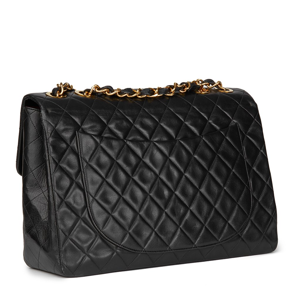 Chanel Black Quilted Lambskin Vintage Maxi Jumbo XL Flap Bag