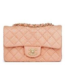 Chanel Peach Python Leather Rectangular Mini Flap Bag