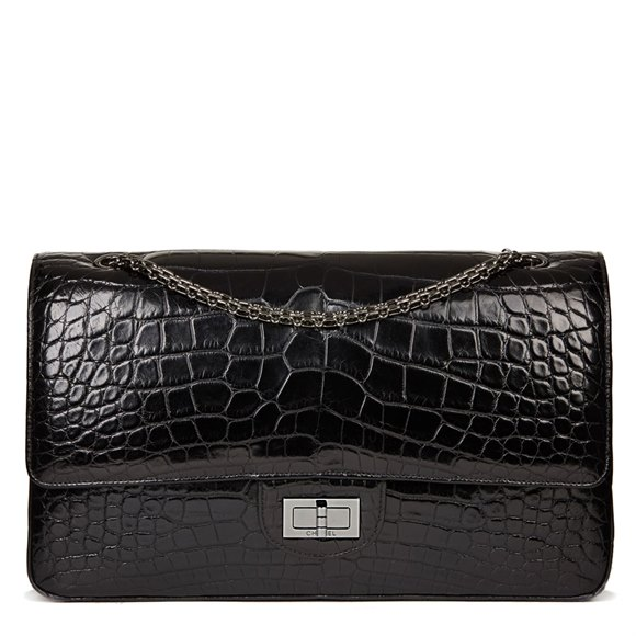 Chanel Black Alligator Leather 2.55 Reissue 227 Double Flap Bag