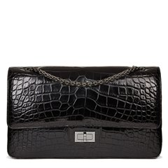Chanel Black Alligator Leather 2.55 Reissue 227 Double Flap Bag