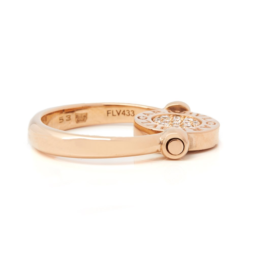 Bulgari 18k Rose Gold Diamond Flip Ring