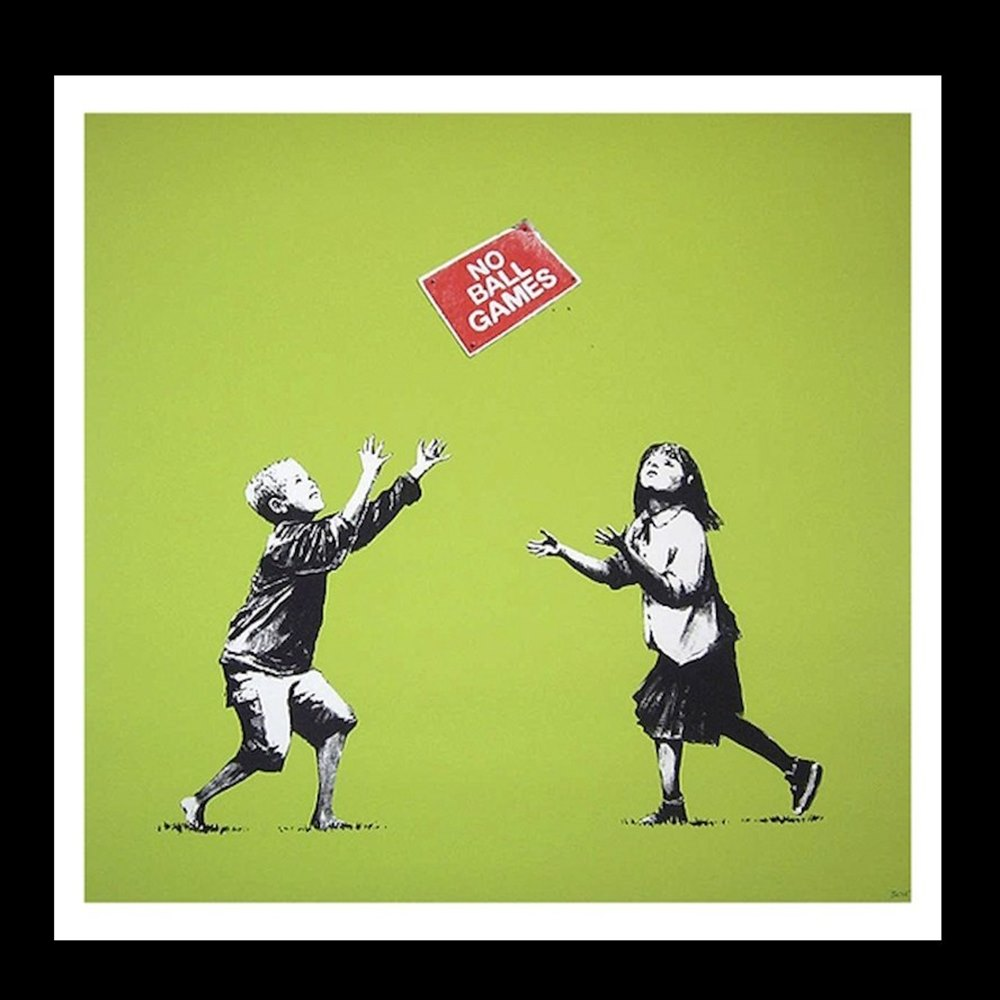 Banksy No ball Games NBG Green – Screenprint from edition of 250 (framed).