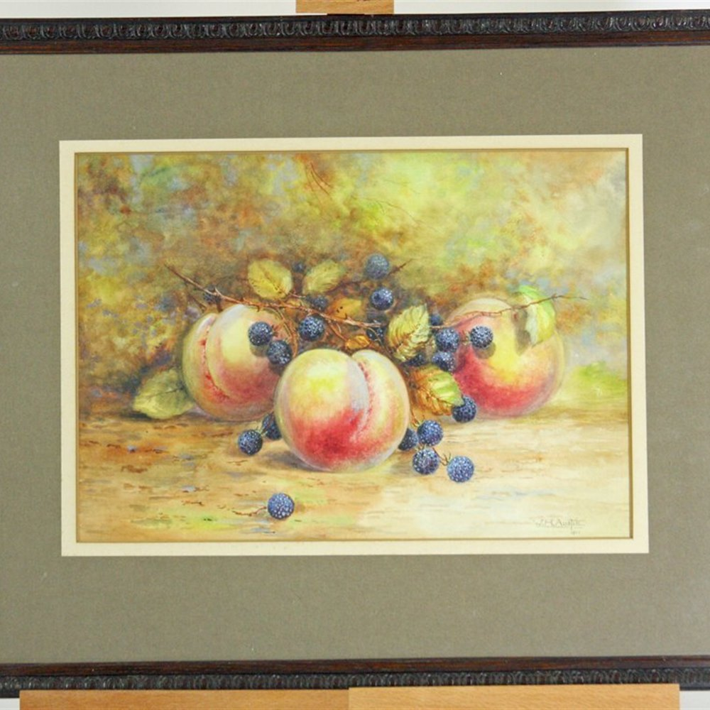 ROYAL WORCESTER ARTIST WH AUSTIN Watercolour Still Life Fruits Royal Worcester Artist WH Austin 1922