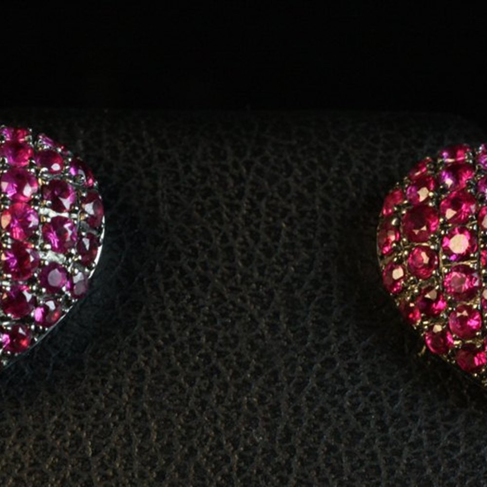 Theo Fennell 8K WHITE GOLD & BABY RUBY HEART EARRINGS