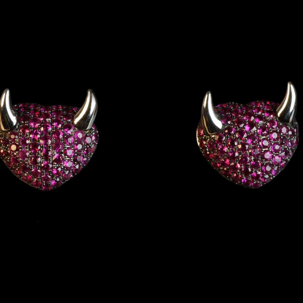 Theo Fennell 18K WHITE GOLD & BABY RUBY HEART DEVIL EARRINGS
