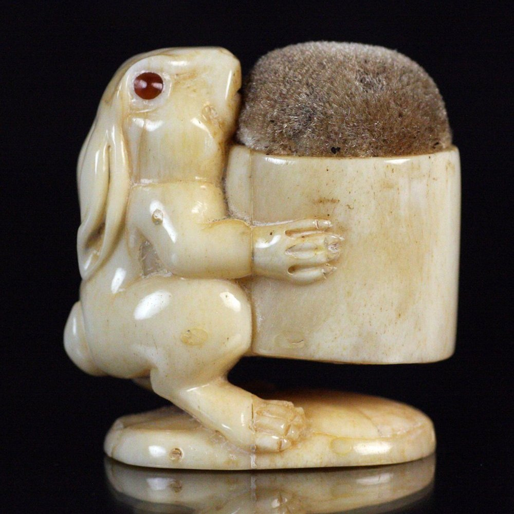 RABBIT PIN CUSHION Believed circa 1900