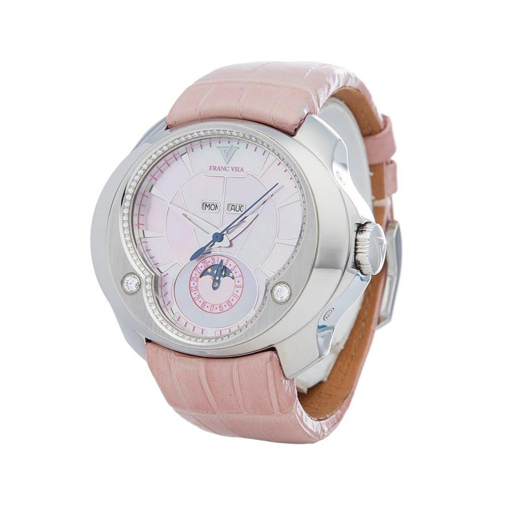 Franc Vila Selenity Diamonds Pink Mother of Pearl Stainless Steel FVT71