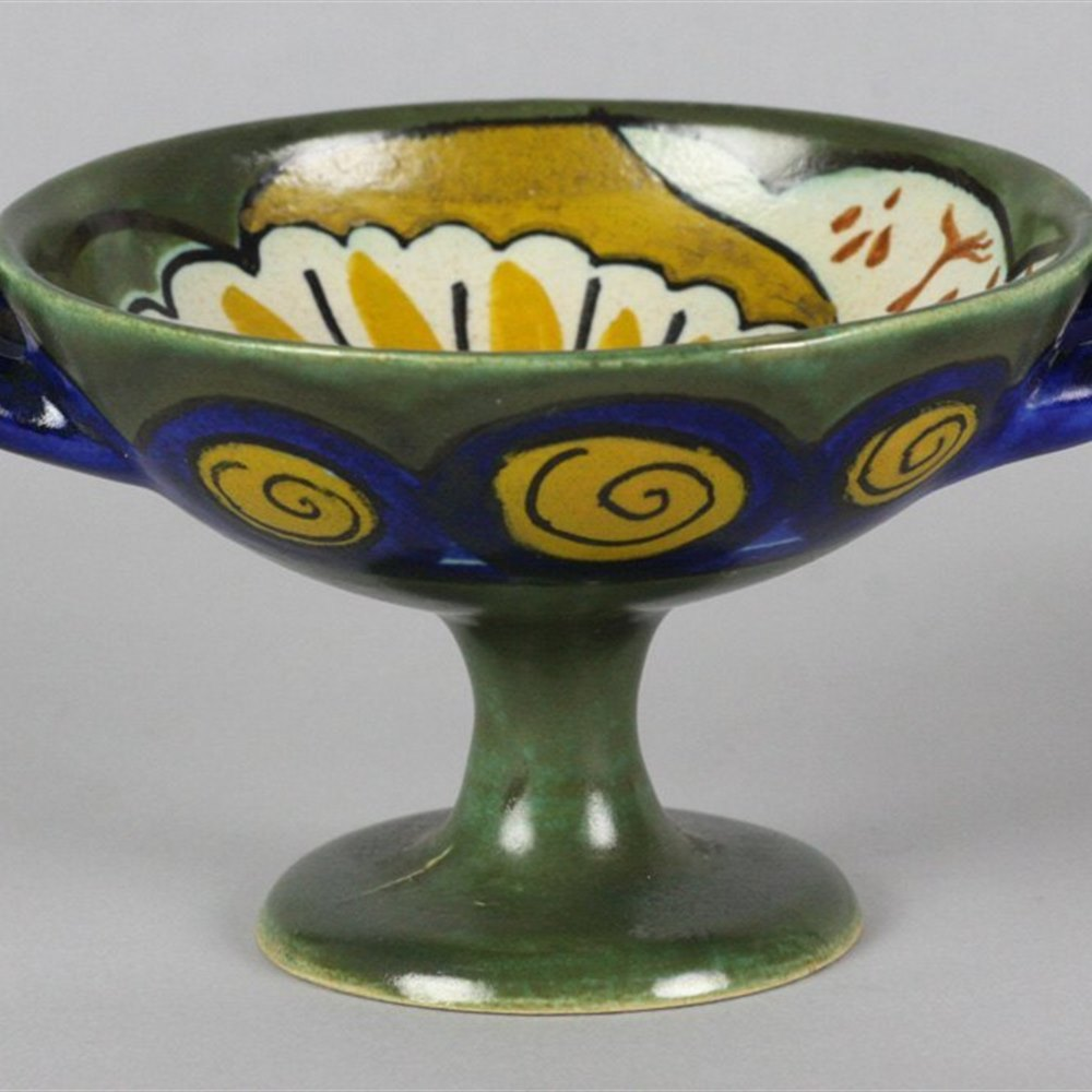 ART NOUVEAU GOUDA FOR LIBERTY MINIATURE PEDESTAL DISH c.1905 Circa 1905