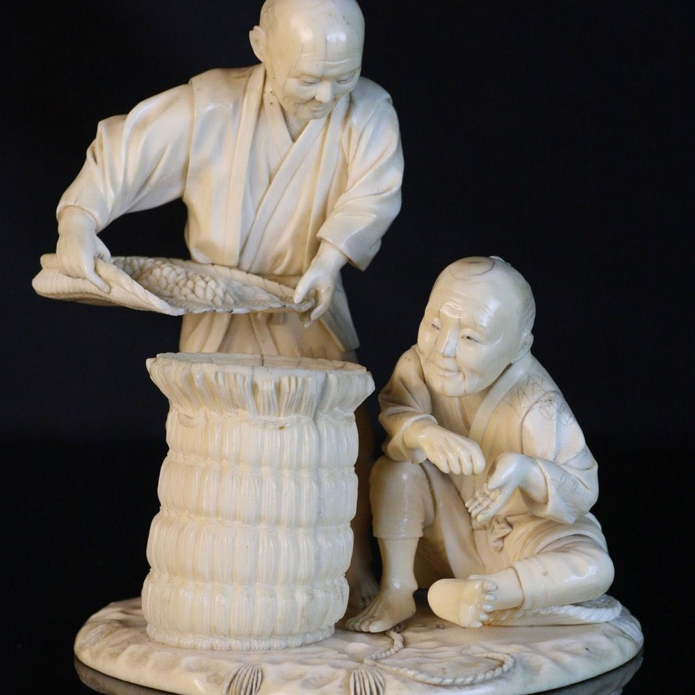 IVORY OKIMONO OF TRADERS Meiji period 1868-1912