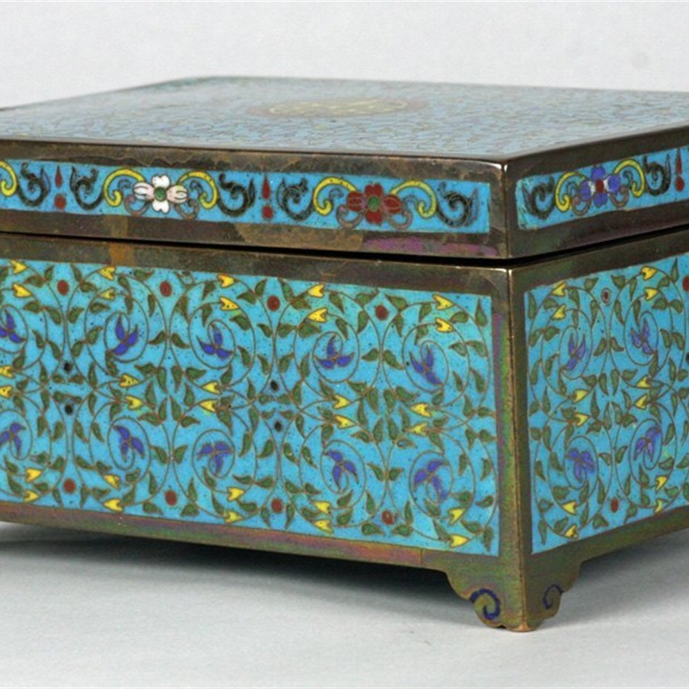 CHINESE CLOISONNE LIDDED BOX Believed 19th or early 20th Century