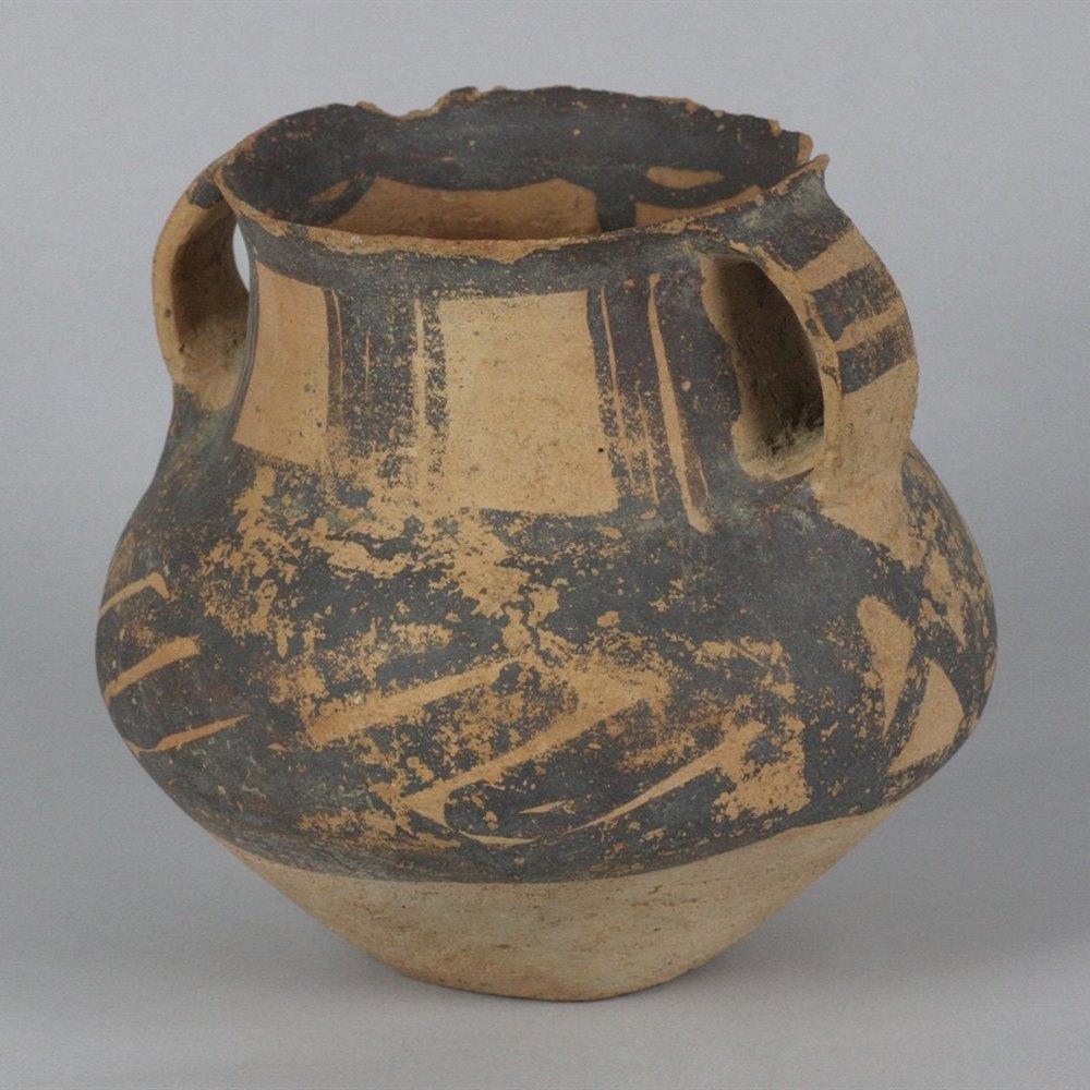 EARTHENWARE MORTUARY URN Hsin-Tien Period 1500-1000 B.C.