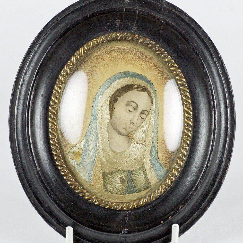 ITALIAN SILKWORK MADONNA PORTRAIT 18th Century