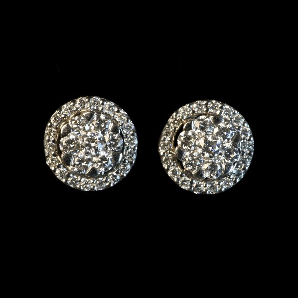 18k White Gold  Diamond Cluster Earrings