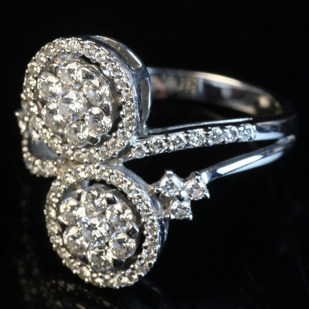 18k White Gold Diamond Double Cluster Styled Ring